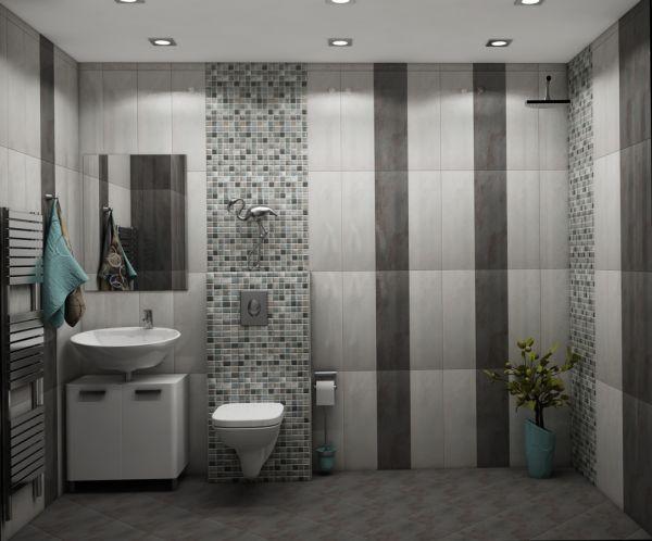 Просторна сивкаво-кафява баня, 2