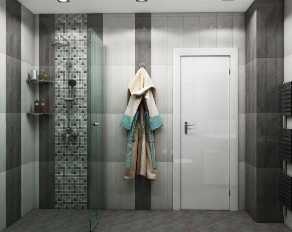 Просторна сивкаво-кафява баня, 3
